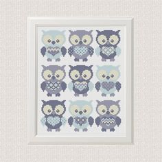 baby cross stitch Pattern Owl Set of 9 animal sampler cross