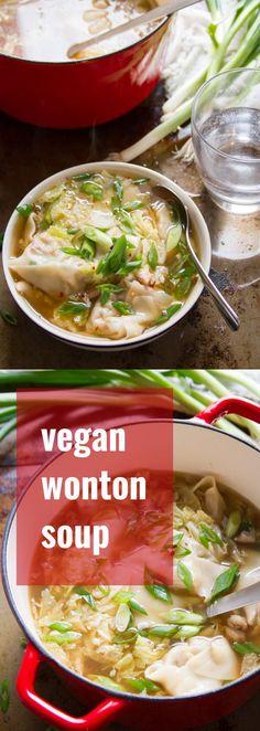 This vegan wonton soup is made with savory shiitake stuffed wontons, crispy napa cabbage and a light gingery broth. Vegan Dinner Recipes, Delicious Vegan Recipes, Raw Food Recipes, Soup Recipes, Vegetarian Recipes, Cooking Recipes, Healthy Recipes, Vegan Vegetarian, Vegan Soups