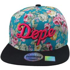 Flat Bill Snapback Hat 3D Pink DOPE Hip Hop Aqua Floral Flower Black... ($22) ❤ liked on Polyvore featuring accessories, hats, snapbacks, hair, acessorios, flower hat, floral hat, floral snapback, black snapback and flat bill hats
