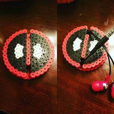 Deadpool earbud holder perler beads by nerdykylo