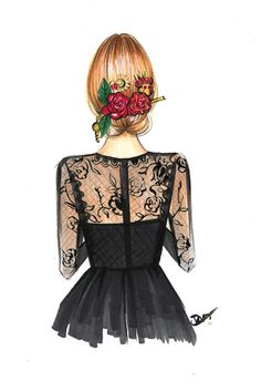 Black Lace And Rose by Rongrong DeVoe is printed with premium inks for brilliant color and then hand-stretched over museum quality stretcher bars. Money Back Guarantee AND Free Return Shipping. Coffee Artwork, Botanical Fashion, Wedding Dress Sketches, Girly M, Cute Girl Drawing, Girly Drawings, Fashion Design Sketches, Arte Pop, Anime Art Girl