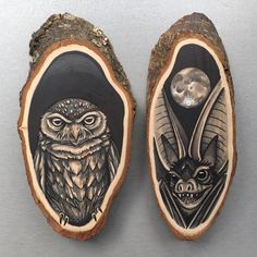 My Owl Barn: Tattoo Inspired Drawings on Wooden Slices and Hands