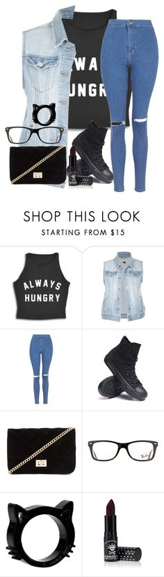"""""""Hungry~Girls"""" by thetoxicvalentine ❤ liked on Polyvore featuring Topshop, Converse, Forever 21, Ray-Ban and Manic Panic"""