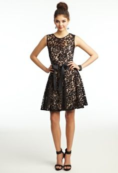 Prom Dresses 2013 - Short Two-Tone Lace Dress with Ribbon Belt from Camille La Vie and Group USA