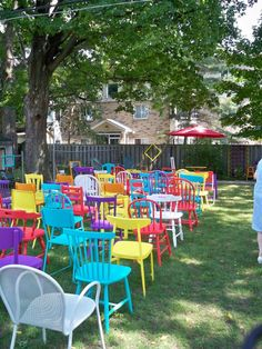 Back yard wedding!  Waiting For the guests!  Yard sale chairs and some coats of paint!