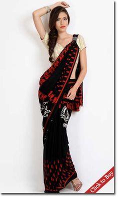 Myntra-Colors-Black-Moss-Crepe-Printed-Saree