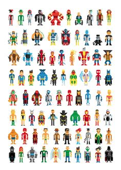 Super Heros Pixel Art - remember to try to ask artists for permission before making public patterns!