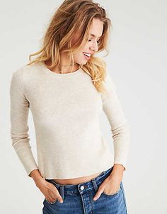 6a8655bc101fd AEO Ribbed Tulip-Back Sweater Pink Sweater