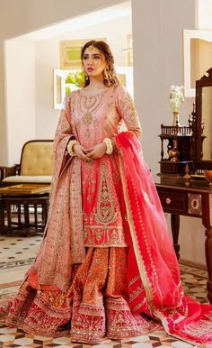 Pakistani Wedding Outfits, Pakistani Wedding Dresses, Pakistani Dress Design, Bridal Outfits, Indian Outfits, Pakistani Bridal Lehenga, Raw Silk Fabric, Pink Fabric, Designer Party Wear Dresses