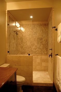 Bathroom Design, Mediterranean Bathroom With Doorless Shower Designs Also Diamond Mosaic Tiling Wall Design Also Beige Shower Cubicle And An. Half Wall Shower, Small Bathroom With Shower, Modern Bathroom, Shower Bathroom, Tile Showers, Bathroom Ideas, Design Bathroom, Simple Bathroom, Small Bathrooms