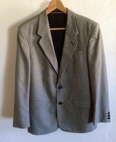 Vintage Mens 1980s 80s Blazer Jacket Black and White Dog Tooth M