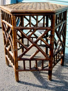 Vintage Chinese Chippendale Style Rattan