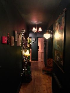 Dark Hallway by Shella Anderson This Hallway was shared by {Shella a}. Find more Hallway ideas and inspiration at{mine} Interior Simple, Home Interior, Interior Decorating, Interior Design, Hallway Decorating, Dark Hallway, Upstairs Hallway, Dark House, Goth Home