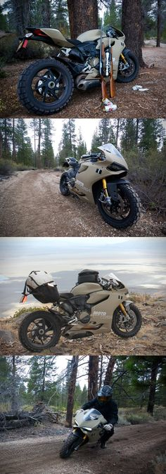 I've got an image of someone pulling up to the check station with a 12 point buck strapped across the back stuck in my head. Ducati 1199 Panigale TerraCorsa Off-Road Superbike. Triumph Motorcycles, Cool Motorcycles, Ducati Custom, Custom Bikes, Motorcycle Design, Motorcycle Bike, Yzf R125, Ducati 1199 Panigale, Motorcycle Girls