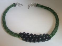 Green and Black Kumihimo Bead Braided Necklace by FranksStudio, $37.00