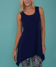 Look at this Lbisse Navy Sidetail Tunic on #zulily today!