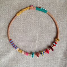 leather and crochet necklace
