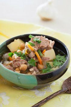 Lamb Soup with Garbanzo Beans & Garlic at Cooking Melangery