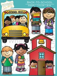 The back-to-school clip art set contains 28 image files, which includes 14 color images and 14 black & white images in png and jpg. All images are 300dpi for better scaling and printing.