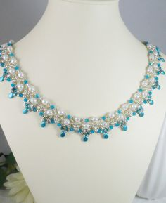 Woven Pearl Collar Necklace Turquoise Swarovski Crystal and Silver Seed Beads