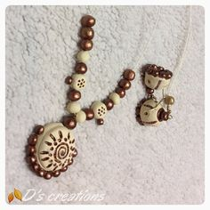 White and bronze necklace and Jhumki set - Handmade terracotta jewellery