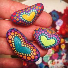 Painting itty bitties. Aren't they adorable? #paintedstones #heart #beachstones #heartrock #loverocks #socalartist #shadowdanceglass