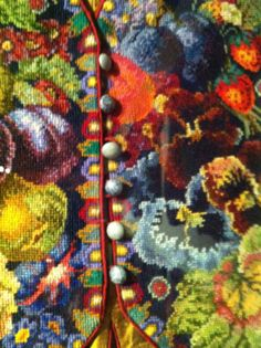 kaffe fassett needlepoint tapestry | strawberries pansies and pretty piping, vest detail.