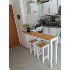 Small Kitchen Bar, Small Kitchen Layouts, Boho Kitchen, Kitchen Sets, Home Decor Kitchen, Made To Measure Furniture, Small Apartment Interior, House Furniture Design, Kitchen Organisation