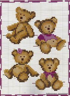 Punto croce - Schemi Gratis e Tutorial: Raccolta di schemi a punto croce per bambini a tema orsetti