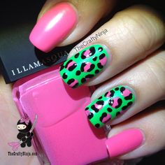 Leopard print nails are great but they're just that extra but special and quirky when they're painted in unconventional colours.