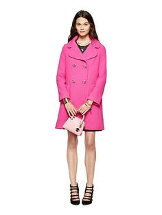 jeweled button wool coat - kate spade new york