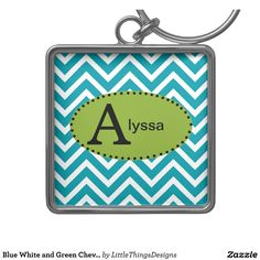 Blue White and Green Chevron Personalized Keychain | Zazzle