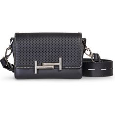 Tod's Double T Black Perforated Leather Bag as seen on Alessandra Ambrosio