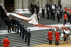 The Prince and Princess of Wales, Charles and Diana, leave St. Paul's Cathedral after their July 29, 1981, wedding ceremony.