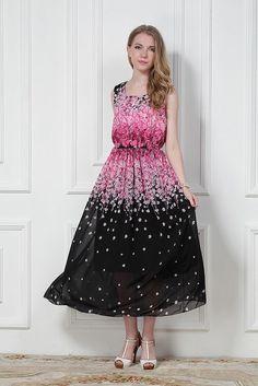 Summer fashion womens Romantic cherry blossom vest elastic chiffon long dress #Unbranded #fashion #Casual