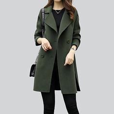Women's Going out Simple Casual Winter Fall Regular Coat,Solid Shirt Collar Cotton Acrylic Polyester 2018 - $7.2