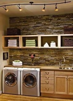 Some basement laundry room ideas are the best solutions. If you have an unused space under your house, making it a laundry room would complete your house. Some people wouldn't want to design their basement because they're not around there . Rustic Laundry Rooms, Laundry Room Design, Laundry Area, Garage Laundry, Basement Laundry, Small Laundry, Laundry Room Inspiration, Laundry Room Remodel, Laundry Room Organization