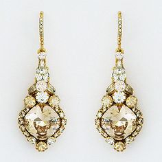 Haute Bride earrings. Feminine, vintage, just so pretty crystal drop bridal earrings. Drop style, silk & champagne crystals, wedding, black tie.