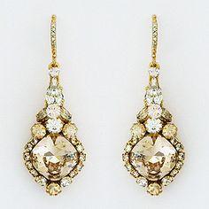 Haute Bride earrings. Feminine, vintage, just so pretty crystal drop bridal earrings. Drop style, silk & champagne crystals, wedding, black tie.