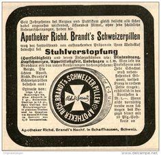 Original-Werbung/ Anzeige 1901 : APOTHEKER RICHARD BRANDT'S SCHWEIZERPILLEN / SCHAFFHAUSEN - SCHWEIZ - ca 90 x 80 mm