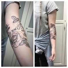 Tattooed a few line-work roses around some Roman numerals she already had from another artist.
