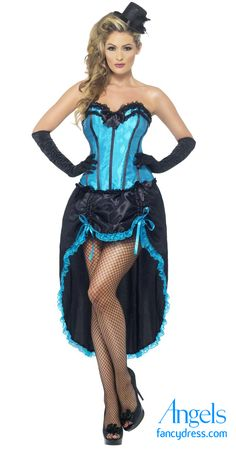 e81aea0612 This beautiful Burlesque outfit comes as a two piece set with a blue boned  sweetheart bodice