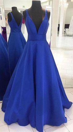 Royal Blue Prom Dresses Long,Princess Prom Dresses V-neck,Elegant Prom Dresses Open Back,Satin Prom Dresses Sleeveless Royal Blue Prom Dresses, Princess Prom Dresses, Open Back Prom Dresses, Simple Prom Dress, V Neck Prom Dresses, Blue Evening Dresses, A Line Prom Dresses, Bridesmaid Dresses, Dress Long