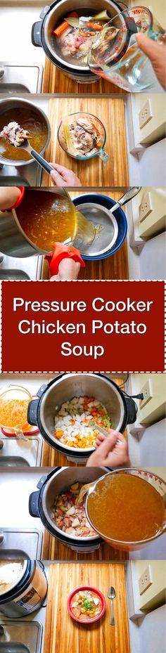 Pressure Cooker Chicken Potato Soup (from Scratch). Start with chicken bones, potatoes, and vegetables. End up with a hearty chicken soup, homemade from your pressure cooker. Hearty Chicken Soup, Chicken Potato Soup, Homemade Chicken Soup, Chicken Bones, Pressure Cooker Chicken, Instant Pot Pressure Cooker, Pressure Cooker Recipes, Pressure Cooking, Recipe For Mom