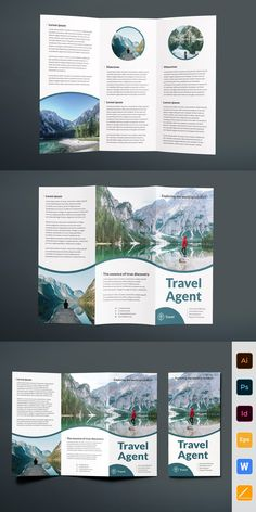 Travel Travel Agent Agency Brochure Trifold Brand name clothing online deals Brand name clothing is Travel Brochure Design, Graphic Design Brochure, Travel Brochure Template, Bi Fold Brochure, Brochure Design Inspiration, Brochure Layout, Design Poster, Flyer Design, Layout Design