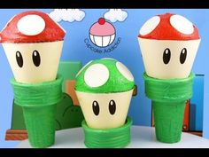 Super Mario Cupcakes! Make a Mario Mushroom Cup Cake! A Cupcake Addiction How To Tutorial. This tutorial and more available for FREE on our YouTube channel MyCupcakeAddiction