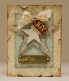 Shabby, distressed Christmas joy. #cards #card_making #Christmas