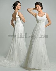 Best Empire Waist Wedding Dresses Organza Sweep Beading Scoop Classic And Timeless 2012 Wedding Dresses  (LIKE THE PATTERNED EMBELLISHMENTS IN THE SKIRT)