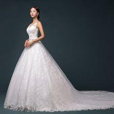 Xi Luosuo big shoulders trailing lace bridal gown, wedding dress new high-end custom wedding dress