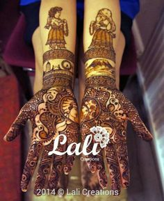 Bridal henna with mount Kilimanjaro and the London skyline. With bride and groom figures too.